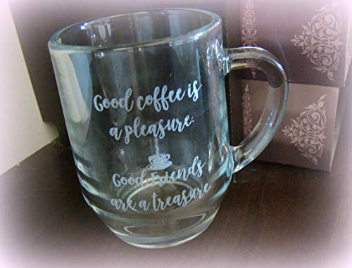 Custom Engraved Etched Printed Personalized Clear Glass 10oz Coffee Mug