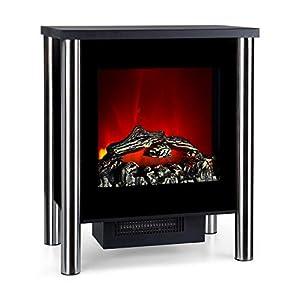 Klarstein Copenhagen - Chimenea eléctrica, Calefacción con termostato, Función de calefacción conmutable, 950 ó 1900 W, Efecto Llama, Frente de Cristal, Negro