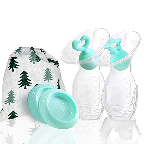 Bumblebee Manual Breast Pump with 2 Packs Breastfeeding Milk Saver Silicone Breast Milk Collect, Green