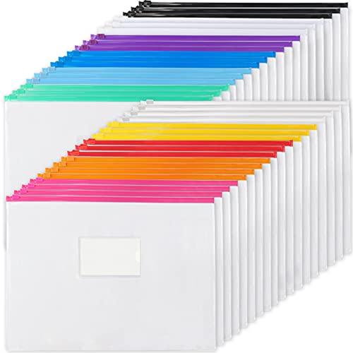 EOOUT 36pcs Poly Zip Envelope Plastic Zip Envelopes Files Zipper Folders, A4 Size/Letter Size, 11 Colors, for School and Office Supplies