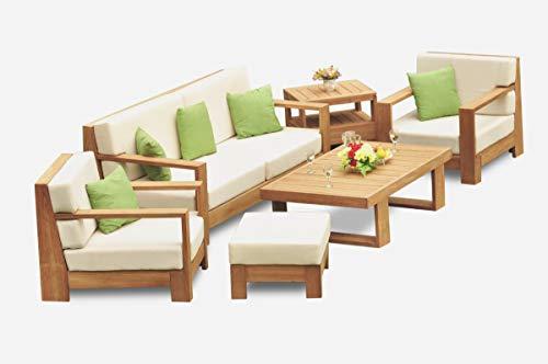 WholesaleTeakFurniture Canberra 6 Piece Sofa Set - 1 Sofa (3 Seater), 2 Lounge Chairs & 1 Ottoman (Cushions Only) Outdoor Sunbrella Fabric Custom Made Cushions for #22CN6CS