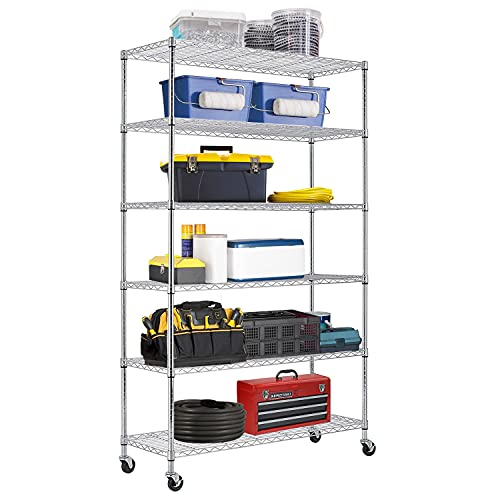 48 Lx18 Wx82 H Wire Shelving Unit Heavy Duty Height Adjustable NSF Certification Utility Rolling Steel Commercial Grade with Wheels for Kitchen Bathroom Office