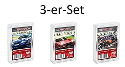 Ass Altenburger 3-er Set Quartettspiele Motorsport bestehend aus 1. Top Ass Edelflitzer - 2. Top Ass Cabrios - 3. Top Ass Formel 1