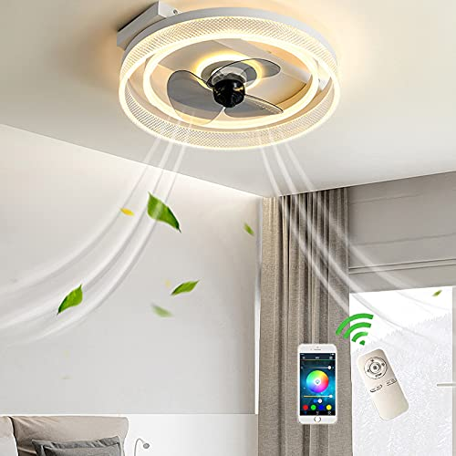 Delgado Ventiladores de Techo Con Luz y Mando A Distancia Home Ventilador Plafon Luces LED Techo Dimable Lámpara Ventilador Potente Silencioso Bajo Consumo Temporizador Salon Comedor