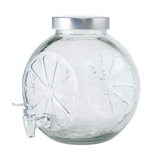CasaJame Dispensador de bebidas de cristal transparente, esfera de cítricos, 25 cm de alto, 21 cm de largo, 24 cm de ancho, 5000 ml