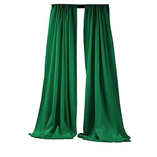 New Creations Fabric & Foam Inc, 5 Feet Wide by 9 Feet High Polyester Backdrop Drape Curtain Panel - (Emerald Green, 2 Panels 5 Ft Wide x 9 Ft High)