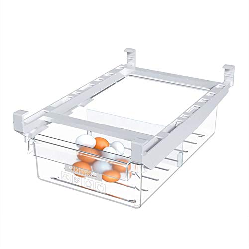 Cajón tipo nevera caja de almacenamiento organizador de alimentos recién mantenidos clasificados contenedor frigorífico estante titular plástico 0414 (color: transparente)