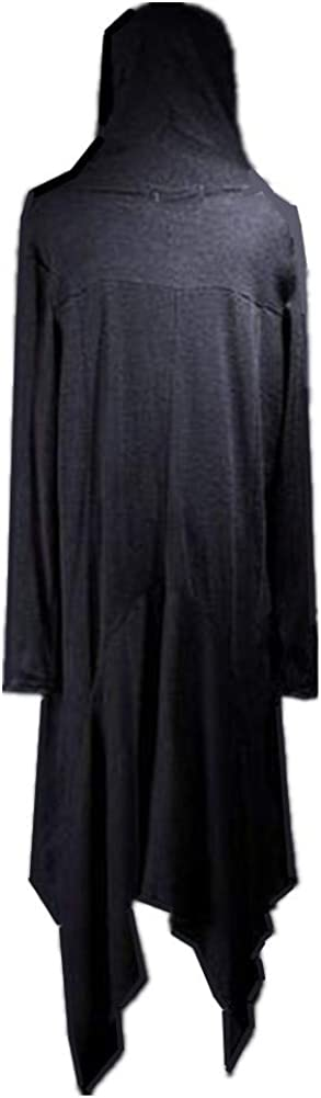 Mens Draped Lightweight Open Front Hooded Cardigan Irregular Hem Poncho