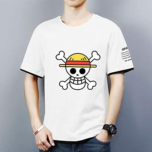 Hombre Camisetas de Manga Corta Sport tee Tops - 3D Monkey D. Luffy Casual Unisexo Camisas de Golf de Tshirts Trabaja Deportes Camiseta - Regalos para Adolescentes,Blanco,M