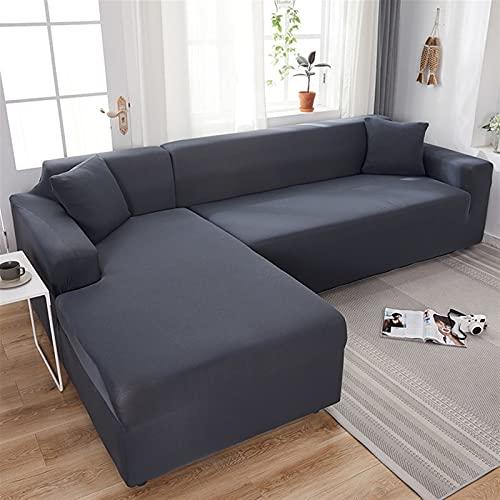 Housse de Canapé d'angle Couverture de Canapé 3 2 4 Place Noir/Gris/Blanc Extensible (Revêtement de Canapé d'angle en Forme de L, Veuillez Acheter Deux Pièces)