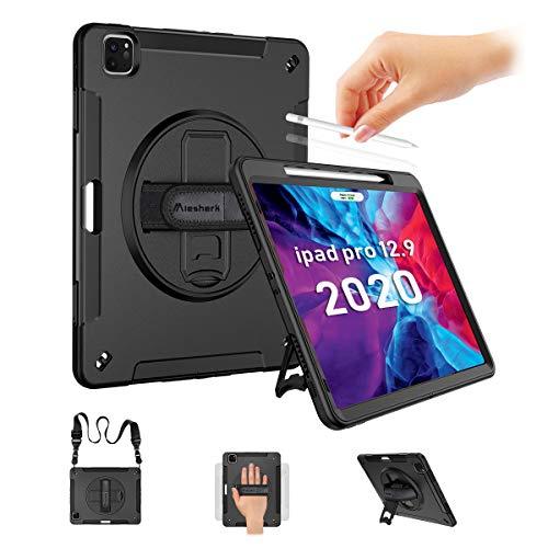 Miesherk iPad Pro 12.9 Hülle 2020 4th Gen/2018 3th Gen mit Stifthalter,3-Lagige Robust Schutzhülle 360 ° Drehbare Tablet Ständer,Militärischer Falltest Sturzfest Hülle mit Handschlaufe,Schultergurt