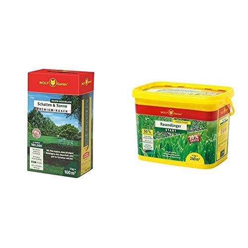 WOLF-Garten - Premium-Rasen »Schatten & Sonne« LP100 ; 3820040 & Wolf Rasen-Starterdünger LH 240, mehrfarbig