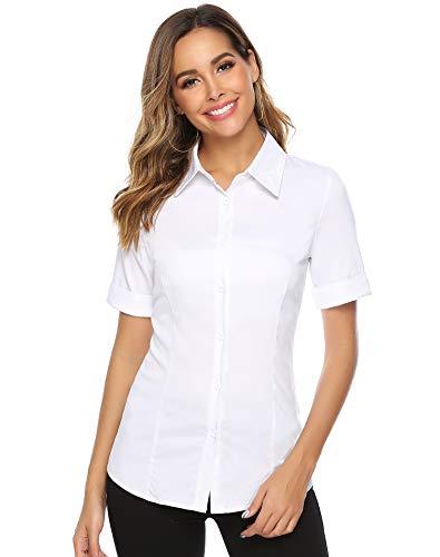 Abollria Damen Bluse Basic Stretch Hemdbluse Elegante 3/4 Arm Business Blusen Button Down fürs Büro,Weiß,L