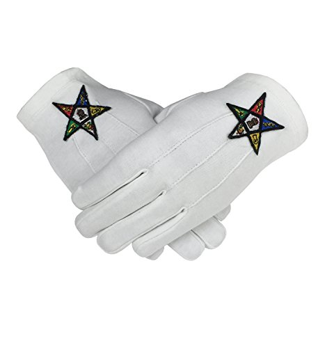 Masonic OES Order of The Eastern Star 100% Cotton Glove (Large)