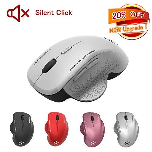 AKSEA Kabellose Maus, Leise klick 2.4G in voller Größe Kabellose Optische Ergonomische Maus Kabellos, 3 einstellbare DPI-Stufen, 6 Tasten Maus mit USB Empfänger für PC/Laptop/Android Tablet (Silber)