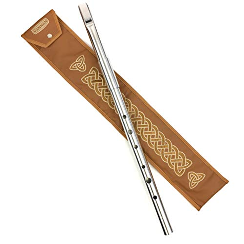 Handmade Irish Low D Whistle Flute Case/Sleeve by Dannan in Brown Vegan Leather with Traditional Celtic Embroidery 4'x 24""