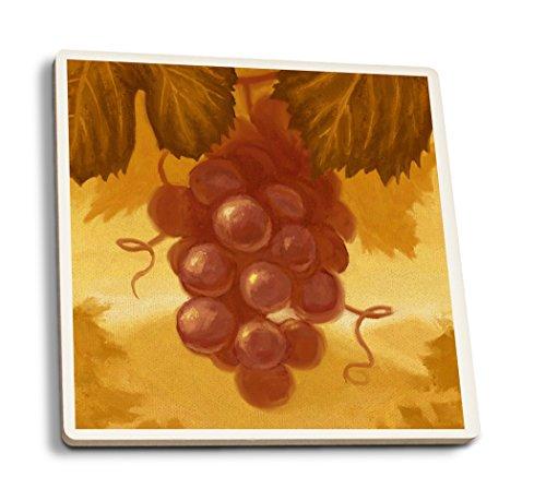 Lantern Press Rouge Raisins-Peinture à l'huile 4 Coaster Set Multicolore