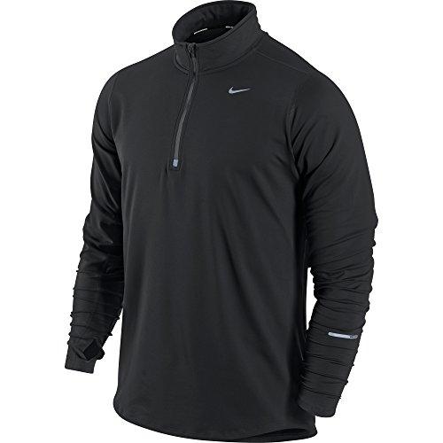 Nike Herren Langarm Shirt Element Half Zip, Black/Reflective Silver, S