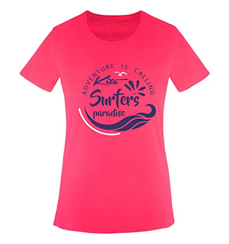 Comedy Shirts - Kite Surfers Paradise - Damen T-Shirt - Pink/Lila-Weiss Gr. L