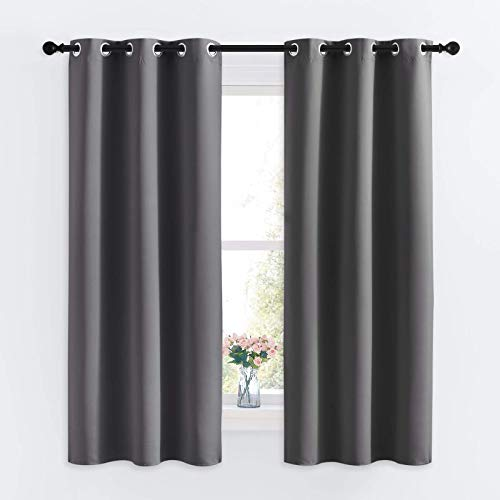 NICETOWN Grey Blackout Curtain Panels for Bedroom, Thermal Insulated Grommet Top Blackout Draperies and Drapes (2 Panels, W34 x L63 inches, Grey)