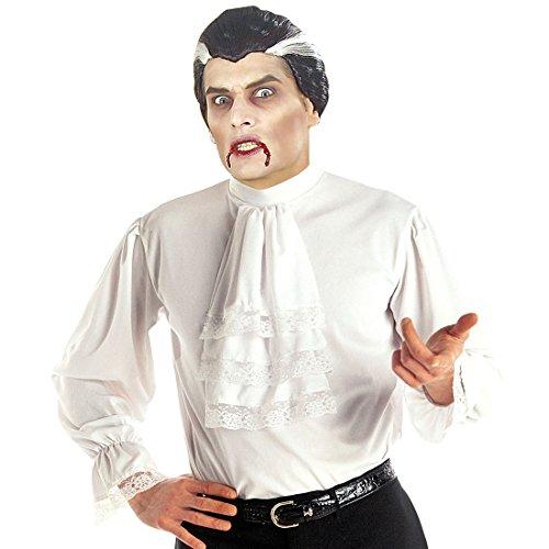 NET TOYS Weißes Rüschenhemd Mittelalter Hemd M/L 50/52 Barock Herrenhemd mit Rüschen Mittelalterliche Kleidung Herren Vampir Gewandung Edelmann Kostüm Renaissance