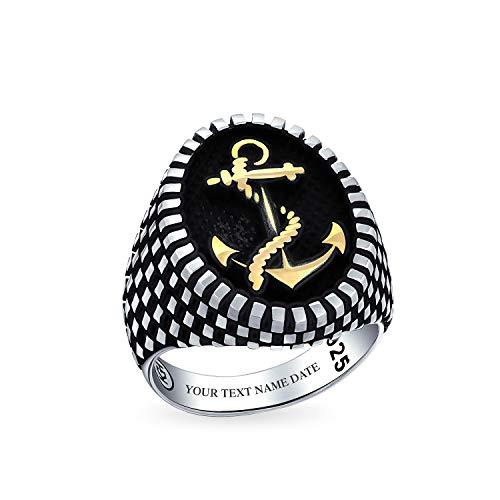 Personalizado Barco Anchor Signet Anillo Para Hombres Tablero de Damas Dos Tonos 14K Oro Placa 925 Plata Grabado