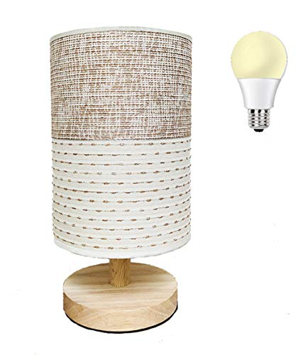AFORTLO Table Desk Lamp, Small Fabric Boho Decorative Nightstand Night Light Solid Wood Base Lamp for Bedroom,Living Room,End Table or Office with Bulb (Brown Knit Fabric)