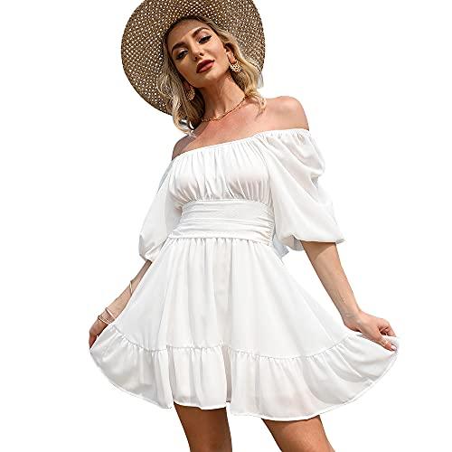 EXLURA Women s Lantern Sleeve Tie Back Dress Ruffled Off Shoulder A-Line Vintage Mini Dress White