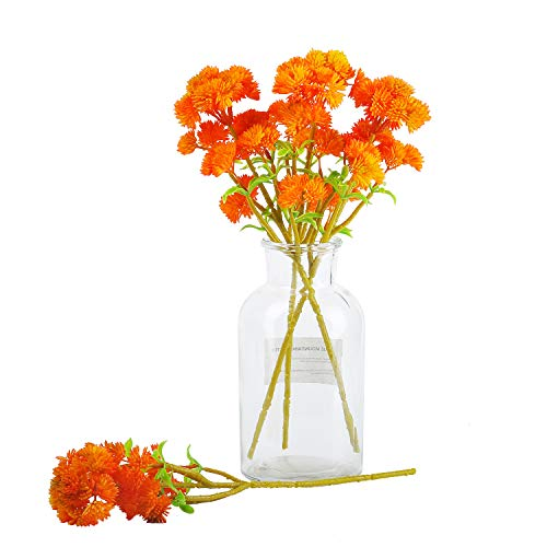 JD Künstlicher Blumenkohl-Brokkoli, 6 Stück, 35,6 cm, Polyethylen, Gemüse, Sukkulenten, Grünpflanzen, für Zuhause, Hochzeit, DIY Blumenstrauß-Zubehör (Orange)