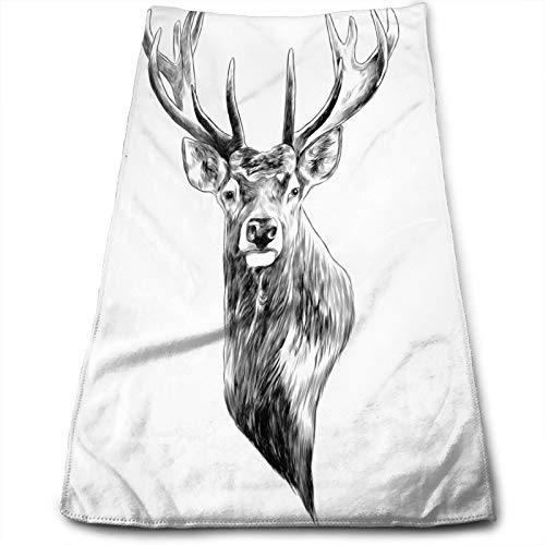 Absorbent Hand Towels for Bathroom,Elk Stag Deer Head Sketch Graphics Monochrome Black and White Drawing Drawn,Light Weight Washcloth Multipurpose for Bath Face Hotel Spa Salon and Gym