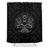 Juego de cortinas de ducha de 156 x 72 cm, placa de circuito en negro con 12 ganchos