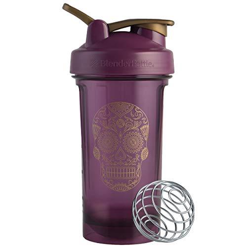 BlenderBottle Sugar Skull Pro Series 24-Ounce Shaker Bottle, Plum
