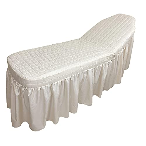 Cotton Tattoo Bed Skirt Long Spa Massage Facial Table Chair Couch Cover Beauty Salon Equipment (White)