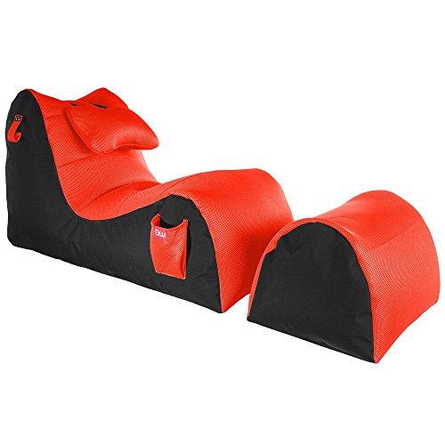 GAMEWAREZ RX Fire Entertainment Sitzsack Set, Made in Germany, fürs Streamen von Serien und Filmen, Lesen und Musikhören. Schwarz mit roter Mesh-Oberfläche, Taschen und Kopfhörerhalterung