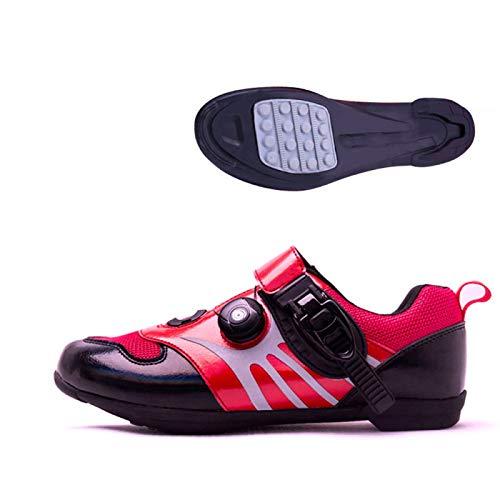 KUXUAN Calzado De Ciclismo para Hombre,Calzado De Ciclismo Sin Candado/Calzado Deportivo De Montaña Y Carretera/Suela De Goma,Red-39EU