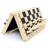 Tablero de ajedrez plegable de madera maciza magnética Panel de impresión de madera Entretenimiento profesional Damas y ajedrez Juego de ajedrez internacional Juego de piezas Juego de mesa Juego