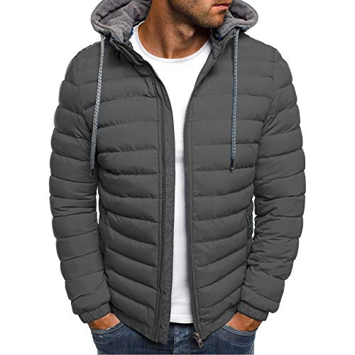 Men's Lightweight Warm Puffer Jackets Autumn Winter Down Jacket Thermal Hybrid Hiking Coat Water Resistant Packable Gray