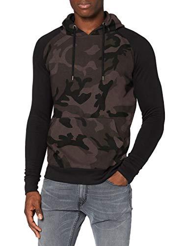 Urban Classics Contrast Raglan Hoody Sudadera con Capucha, Multicolor (Dark Camo/Black 1058), M para Hombre