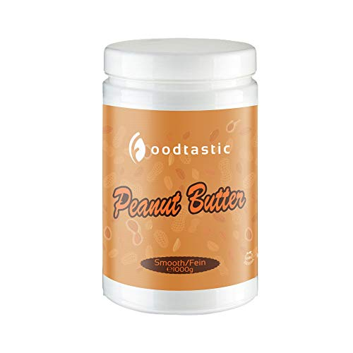 Foodtastic Protein Erdnussbutter 1kg / 1000g Smooth | natürliche cremige Peanut Butter | Erdnussmus ohne Zucker | ohne Zusätze wie Salz, Palmöl oder Konservierungsmittel | glutenfrei und vegan