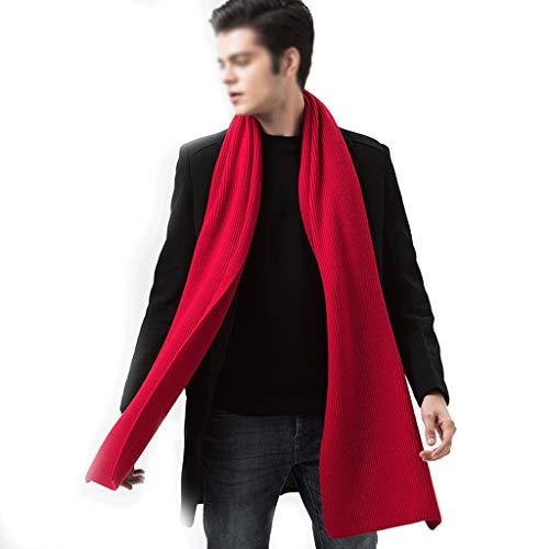 xinxinchaoshi Fular Bufanda de Invierno de Primera Estudiante Simple Bufanda de Lana de los Hombres de los Hombres de la Bufanda de la Caja de Regalo Bufanda De Seda (Color : Red)