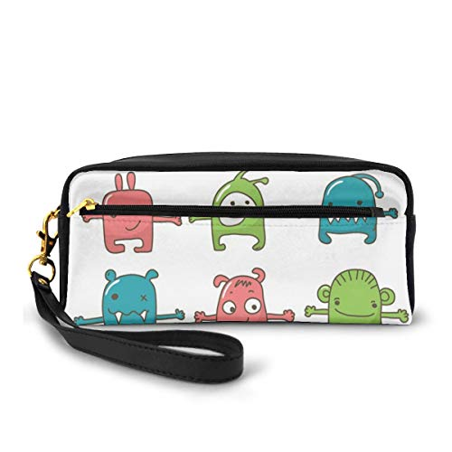 Pencil Case Pen Bag Pouch Stationary,Twelve Monsters Side by Side Cute Beasts Children Drawing Adorable Design Print,Small Makeup Bag Coin Purse