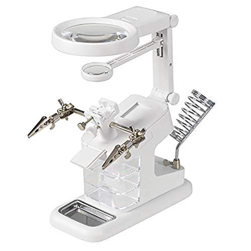 EUROXANTY- Lupa de Mesa con luz LED, Soporte de soldadura, 3 x 4,5 x 25 x USB, con Soporte de Lupa y Pinzas de Cocodrilo, para Soldar, Reparar, Modelar, Manualidades Blanco