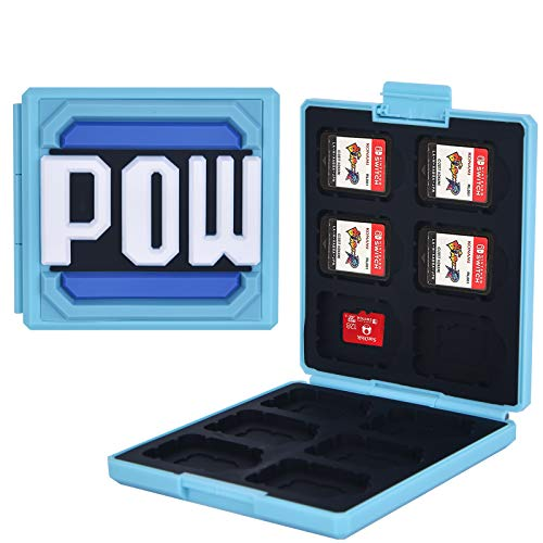 dainslef 12 in 1 Game Card Case for Nintendo Switch&Lite Blue Mario POW Nintendo Switch Game Storage Switch Game Card Holder Switch Card Case