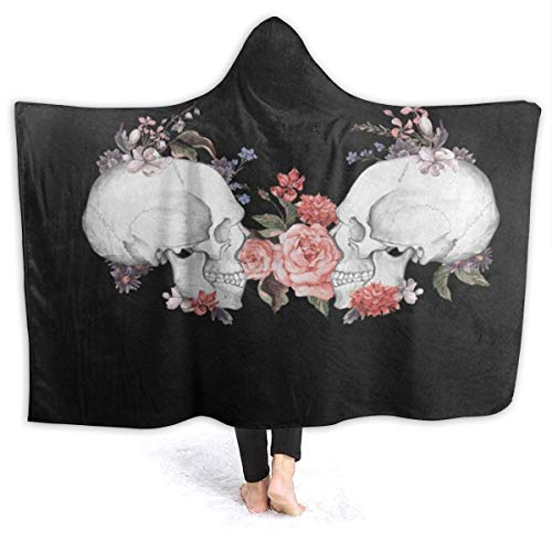 EJudge Fleece Wearable Hooded Blanket Rose Flower Day of The Dead Sugar Skull Soft Cozy Fuzzy Plush Twin Blankets Hoodie Microfiber Throw for Couch Sofa Chair Fall Nap Travel Adults Throw