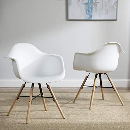 Best OFM 161 Collection 4 Pack Mid Century Modern Plastic Molded Accent Chairs with Arms, Dining Chairs,