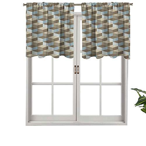 Hiiiman Cenefa de cortina opaca para ventana, efecto tridimensional con patrón de cubos, arte contemporáneo, juego de 2, 42 x 24 pulgadas para sala de estar, cortina recta corta