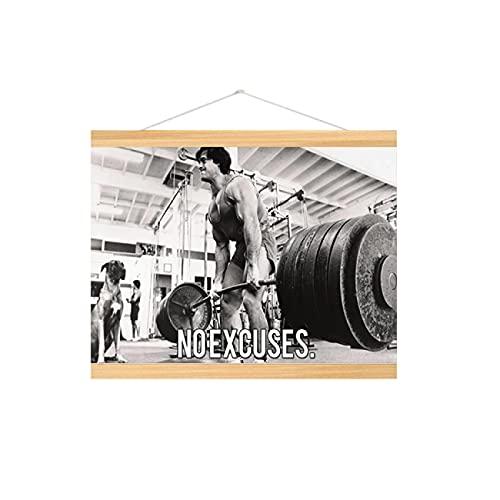 Lacvik Póster Culturismo Hombres Chica Fitness Entrenamiento Cotizaciones Motivación Inspiración Músculo Gimnasio Pared Decoración del hogar 50x70cm con Marco