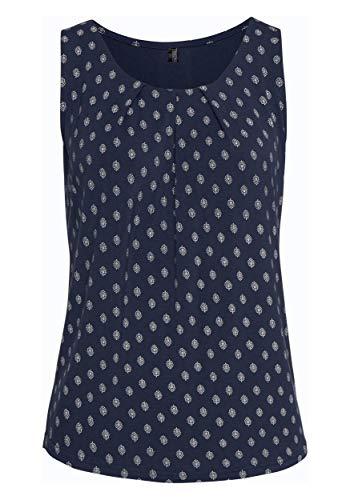 TrendiMax Damen Top Ärmellos Sommer Oberteil Tank Top mit Allover-Minimal Print Lässiges Baumwolle Shirt Basic Tee (Navy Blau, M)