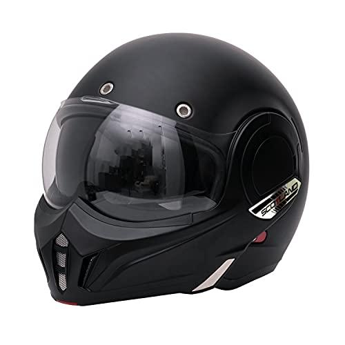 Scotland Motorcycle Dept 120023 Casco Modulare con mentoniera ribaltabile, nero opaco, XL