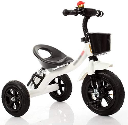 Knoijijuo Kinder-Dreirad-Kinderwagen Fahrrad-Spielzeugauto 2-6 Jahre alt Fahrrad Trike Kid 3 Räder (Farbe: weiß),Weiß